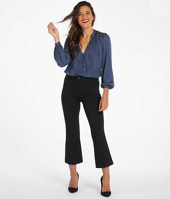 SPANX Cropped Ponte Flare Pants in Very Black(Front Views) 20260R