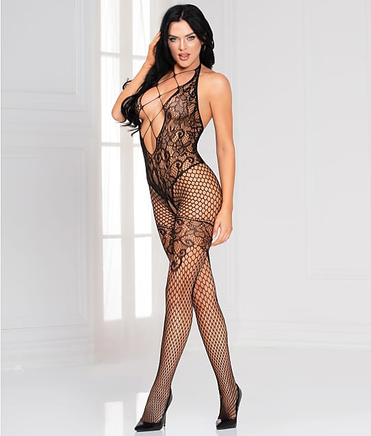 Seven 'til Midnight Floral Fishnet Crotchless Bodystocking in Black(Front Views) 20482