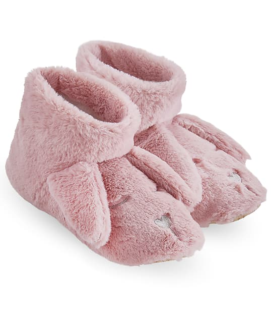 HUE: Plush Critter Bunny Bootie Slippers