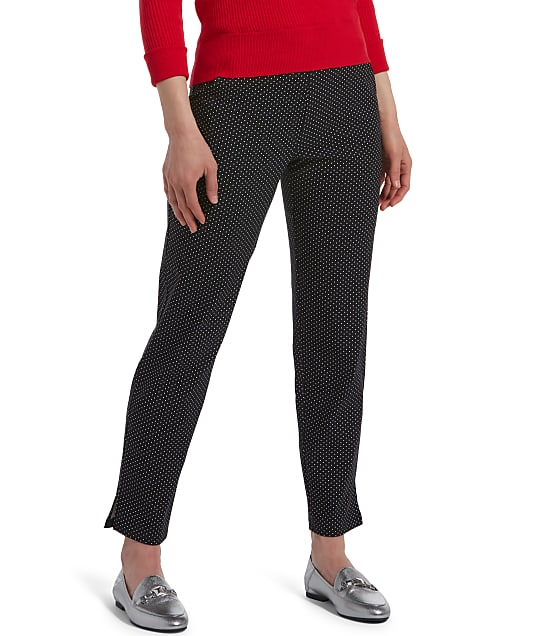 HUE: Classic Polka Dot Temp Tech Trouser Pants