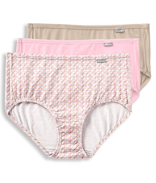 Jockey Supersoft Brief 3-Pack in Nude / Pink / Print 2073