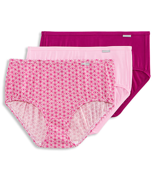 Jockey Supersoft Brief 3-Pack in Pink / Pearl / Tile(Front Views) 2073