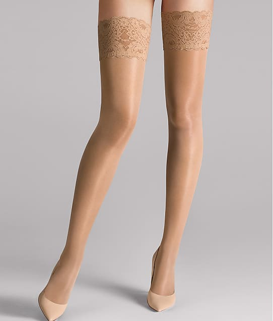 Wolford Satin Touch 20 Denier Evening Thigh Highs in Caramel 212-23