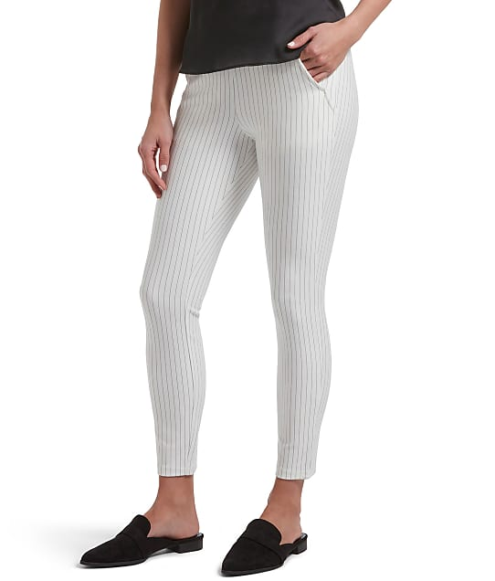 HUE: High-Waist Ponte Striped Skimmer Pants