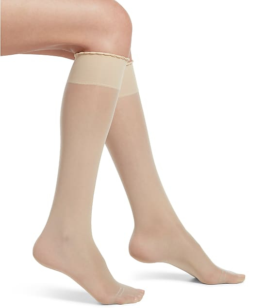HUE Graduated Compression Sheer Knee Highs in Cream 21307