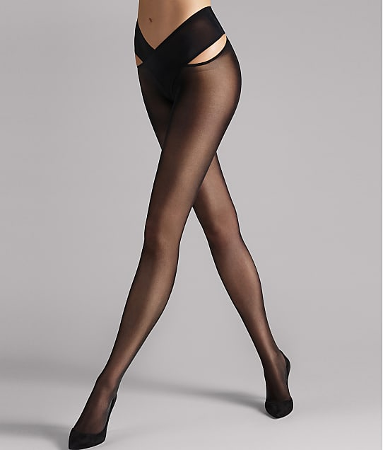 Wolford Individual 12 Denier Stay-Hip Pantyhose in Black 216-46