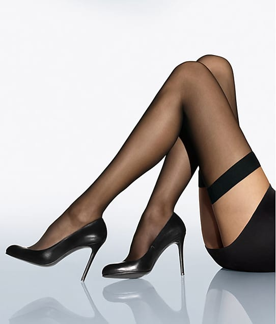 Wolford Individual 10 Denier Thigh Highs in Black 21663