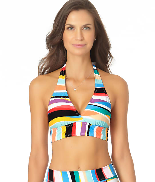 Anne Cole Signature Wavy Stripe Marilyn Halter Bikini Top in Multi(Full Sets) 21MT12286