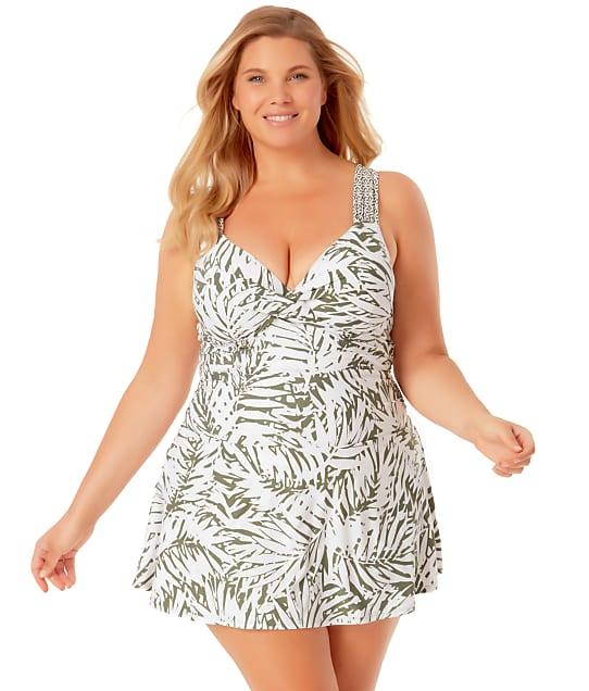 Anne Cole Signature Plus Size Palm Breeze Underwire Swim Dress in Multi 21PD60683