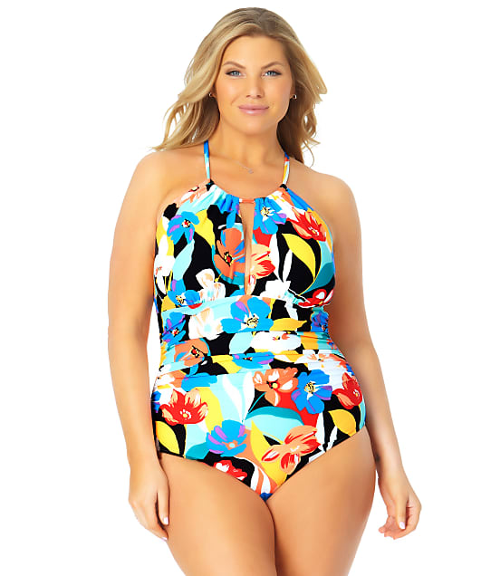 Anne Cole Signature Plus Size Modern Blooms High-Neck One-Piece in Multi 21PO06485