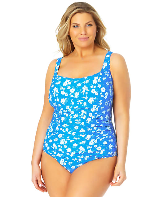 Anne Cole Signature Plus Size Baby Bloom Square Neck One-Piece in Blue / White(Full Sets) 21PO08003