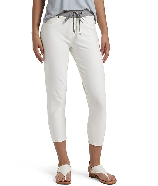 HUE Sweatshirt Denim Capris in White(Front Views) 22488