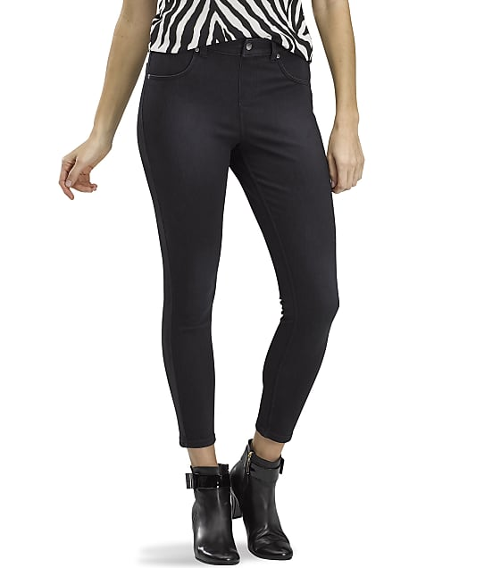 HUE Denim High-Waist Skimmer Pants in Faded Black Wash(Front Views) 22492