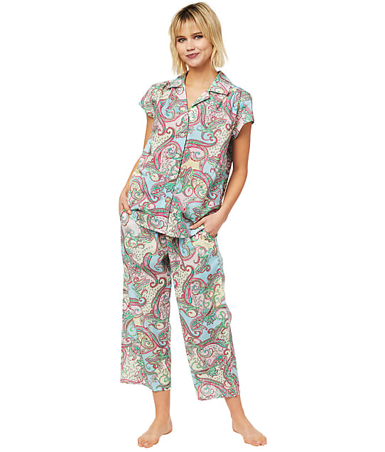 The Cat's Pajamas: Summer Of Love Luxe Pima Woven Capri Pajama Set