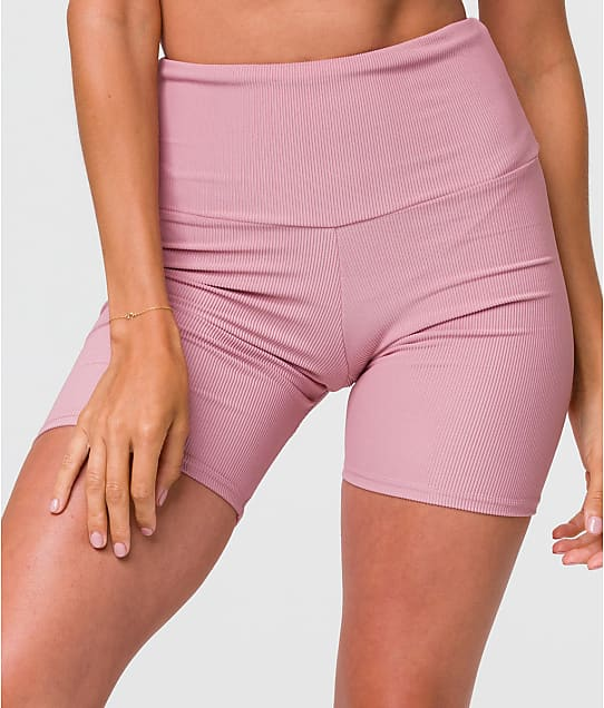 Onzie Ribbed Bike Shorts in Antique Rose(Front Views) 2262R