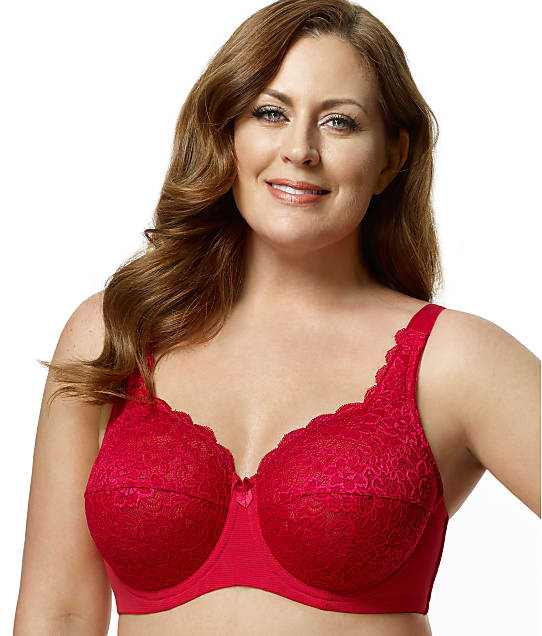 Elila Isabella Lace Full Coverage Bra in Red(Front Views) 2311N