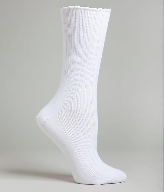 HUE: Scalloped Pointelle Crew Socks