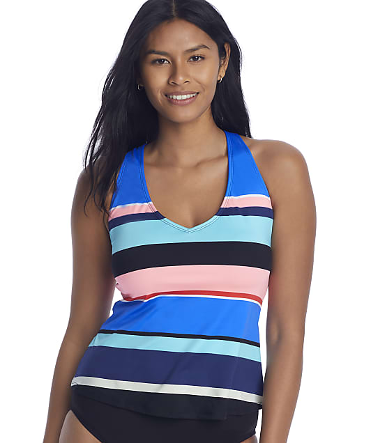 24th & Ocean Step Up Stripe Cross-Back Underwire Tankini Top in Multi(Front Views) TF1WD64