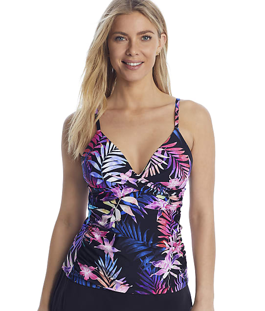 24th & Ocean Island Fever Wrap-Front Tankini Top in Black(Front Views) TF1WJ57