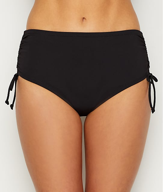24th & Ocean Solid Adjustable Side Tie Smoothing Bikini Bottom in Black(Front Views) TF9G695