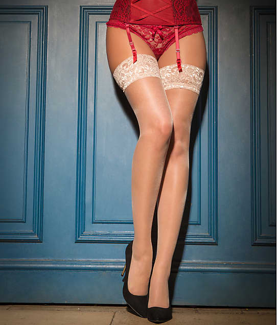 d4a605a48f9491 Pour Moi Alllure Lace Top Stockings | Bare Necessities (252)