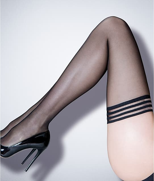 Pour Moi: Strapped Mesh Top Thigh Highs