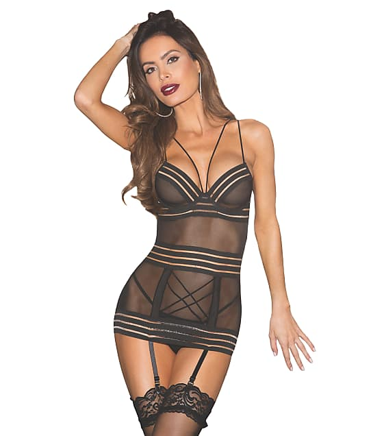 Shirley of Hollywood: Sheer Mesh Garter Chemise Set