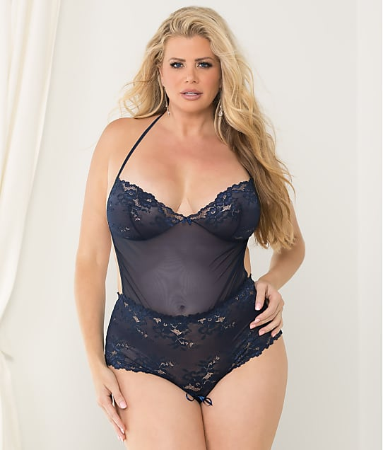 Escante: Plus Size Open Back Lace Wireless Teddy