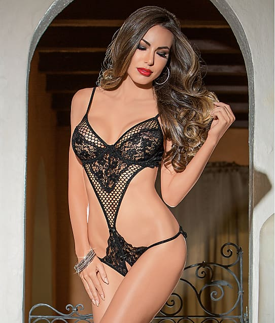 Escante: Fishnet  And Lace Teddy