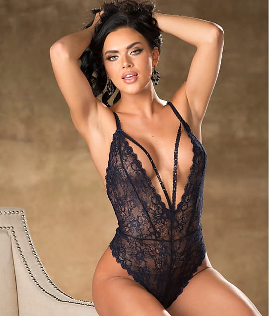 Shirley of Hollywood Lace Plunge Teddy in Navy(Front Views) 31384
