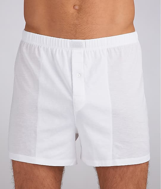 Hanro Cotton Sporty Knit Boxer in White(Front Views) 3505