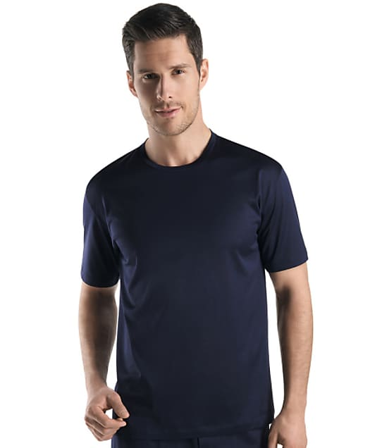 Hanro Cotton Sporty Crew Neck T-Shirt  in Midnight Navy(Front Views) 3511
