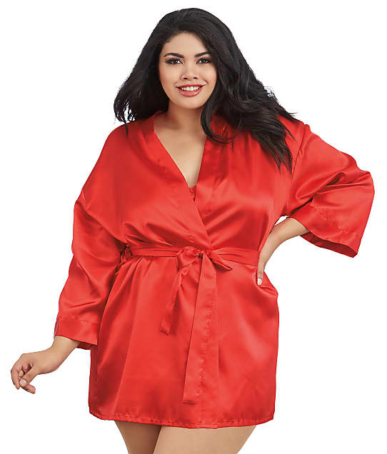 Dreamgirl: Plus Size Robe and Chemise Set