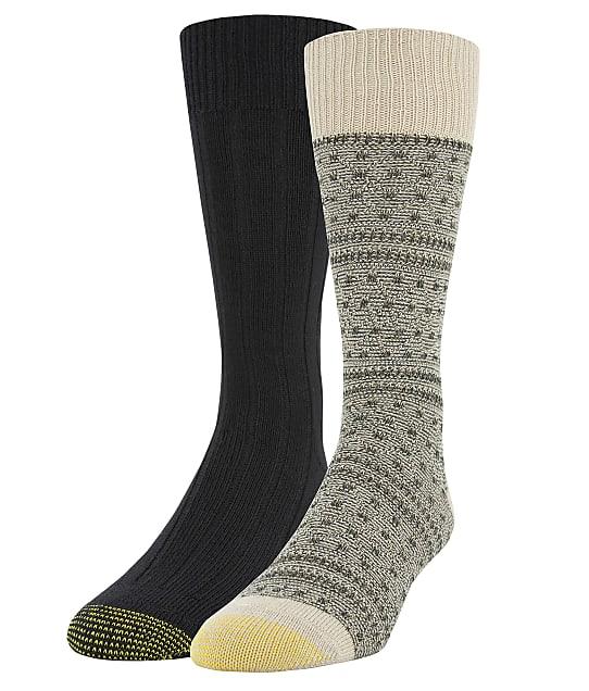 Gold Toe Recycled Fairisle Dress Socks 2-Pack in Khaki Marl / Black 3731F0