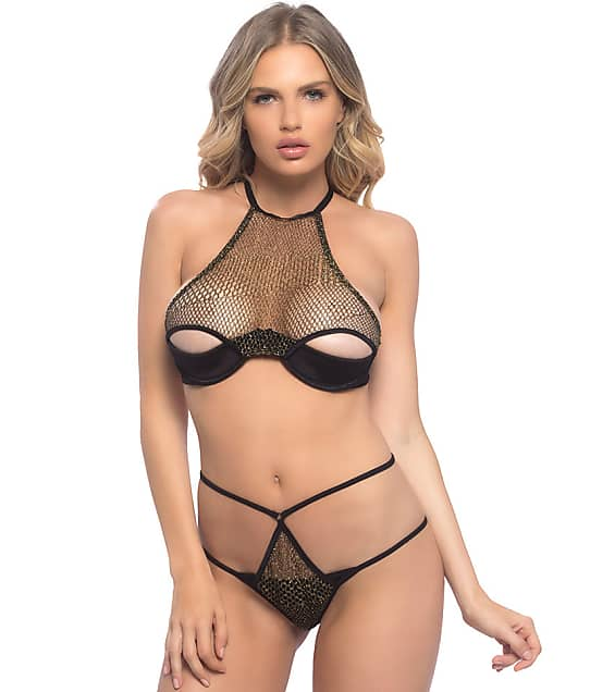 Oh La La Cheri: Metallic High Neck Bra & Panty Set