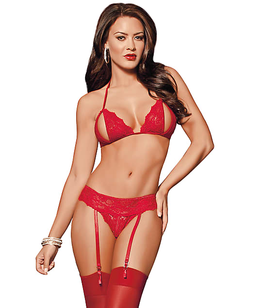 Escante: Peek-A-Boo Wireless Bra & Panty Garter Set