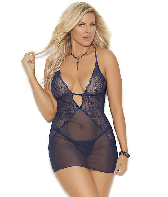 Elegant Moments Plus Size Rosalee Chemise Set in Midnight Blue(Front Views) 44073X