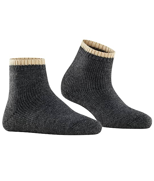Falke Cosy Plush Ankle Socks in Anthracite(Front Views) 46380