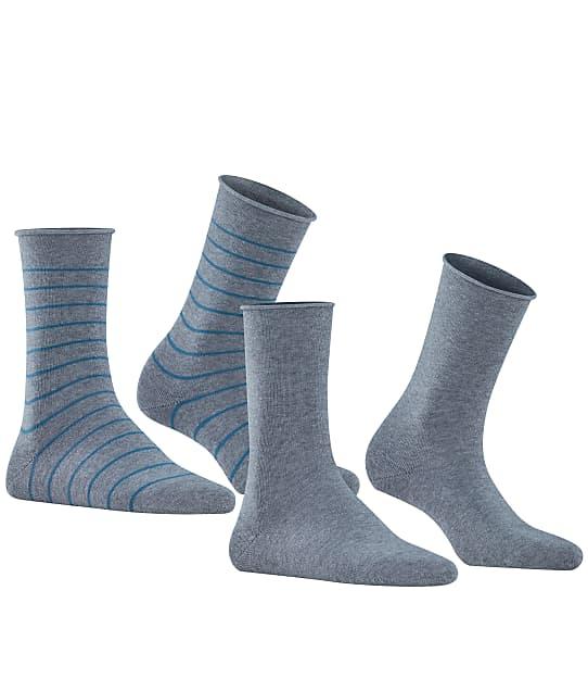 Falke Happy Stripe Crew Socks 2-Pack in Light Grey(Front Views) 46419