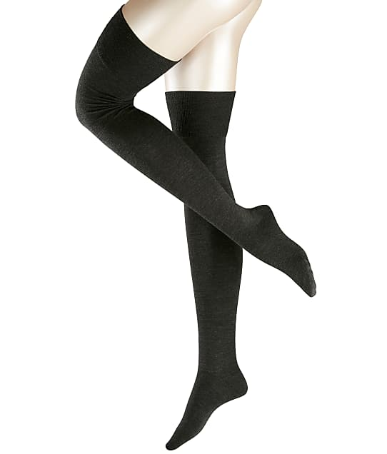 Falke Striggings Over The Knee Socks in Anthracite(Front Views) 46860