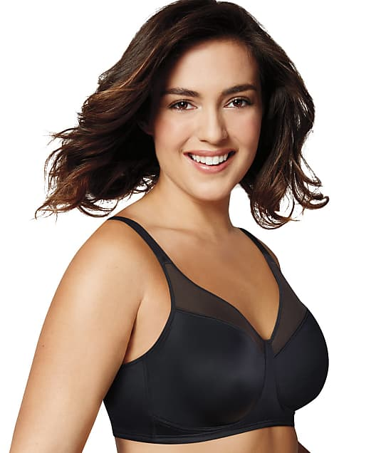 Playtex 18 Hour Wire-Free Minimizer Bra in Black(Front Views) 4697