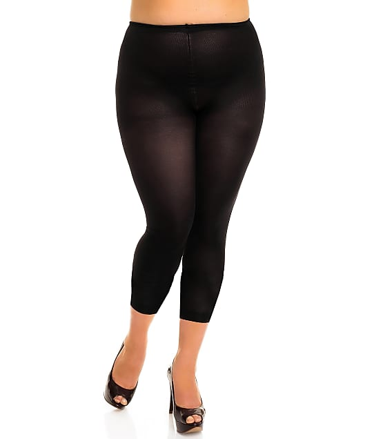 Glamory Plus Size Velvet 80 Opaque Footless Tights in Black 50168