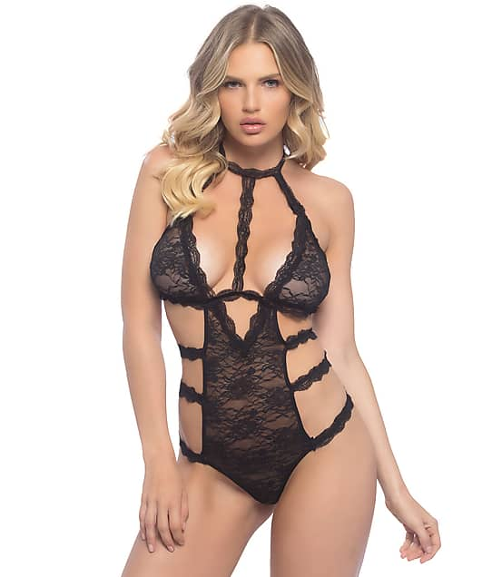 Oh La La Cheri: Crotchless High Neck Lace Teddy