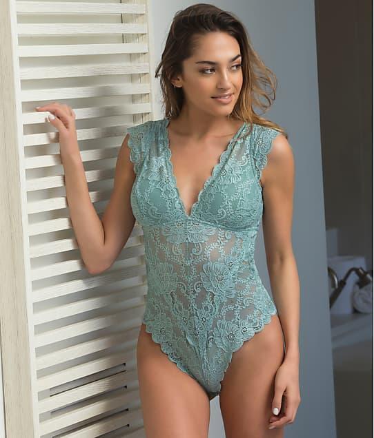Oh Là Là Chéri   Real Lingerie Suzette Lace Bodysuit in Dusty Turquoise 52-10641