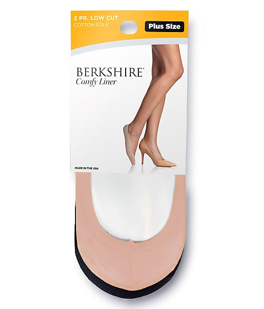 Berkshire: Comfy Cuff Cotton Shoe Liners Extended Sizes 2-Pack