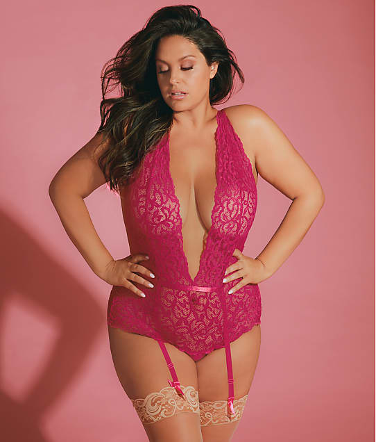 Oh Là Là Chéri   Plus Size Maxine Galloon Lace Open-Back Garter Teddy in Cherries Jubilee 52-11424X