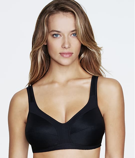 Dominique Isabelle Cotton Wire-Free Bra in Black(Front Views) 5316