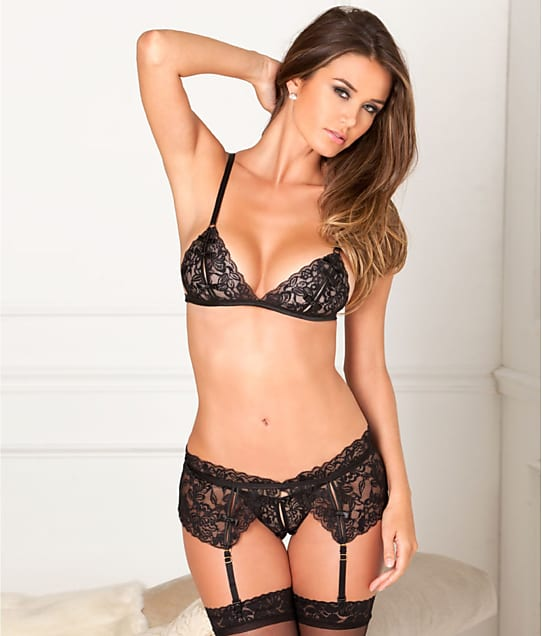Rene Rofe: Lace Wireless Bra & Garter Set