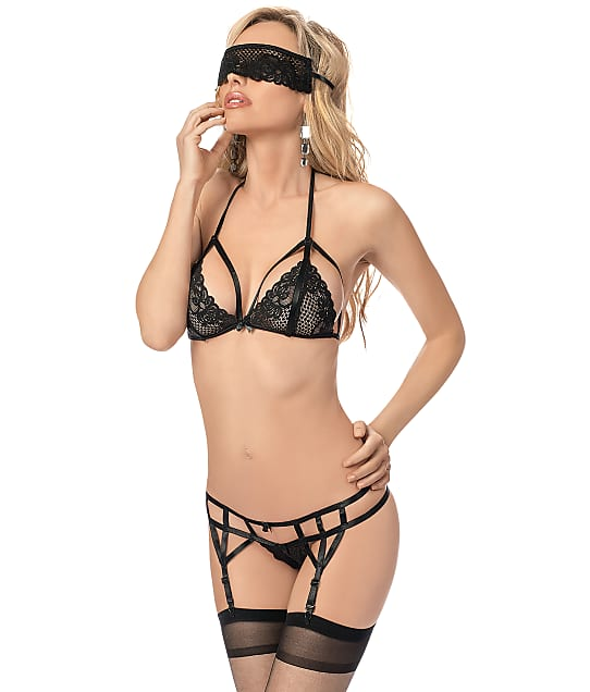 Escante: Mask Bra & Garter Set