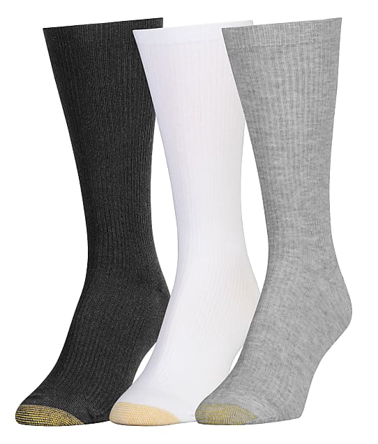 Gold Toe: Premium Comfort Top Ribbed Crew Socks 3-Pack